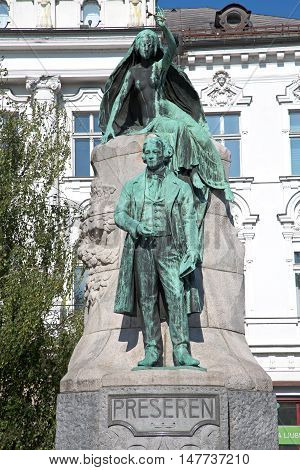 Ljubljana Slovenia Aug 25 2016: The Preseren Monument in Ljubljana is a late Historicist bronze statue of the Slovene national poet France Preseren