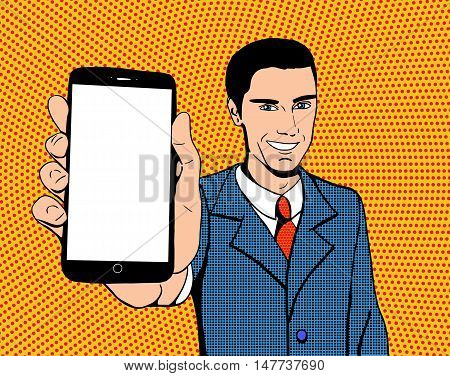Pop art suited-up man with a smartphone with blank screen. Close-up view of a mobile phone. Halftone background.