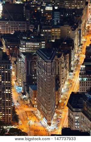 New York City - SEP 11: Flatiron Building closeup at night on September 11, 2015 in New York City. It is one of the most iconic skyscrapers and the symbol of New York City.