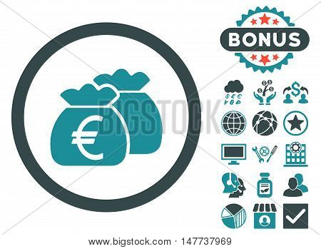Euro Money Bags icon with bonus symbols. Vector illustration style is flat iconic bicolor symbols soft blue colors white background.