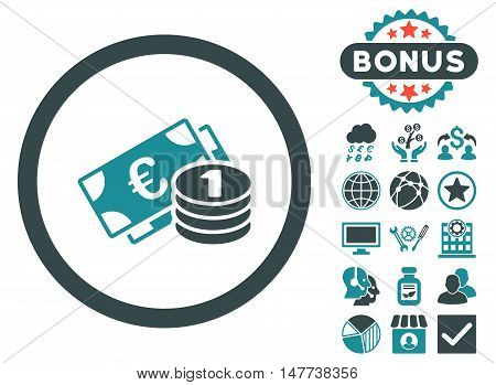Euro Money icon with bonus symbols. Vector illustration style is flat iconic bicolor symbols soft blue colors white background.