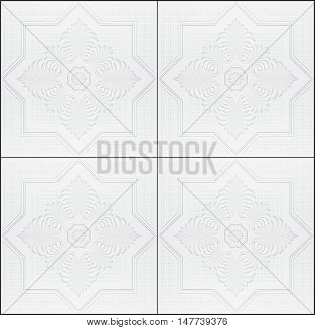 Ornate patterns on the ceiling in gypsum tiles.
