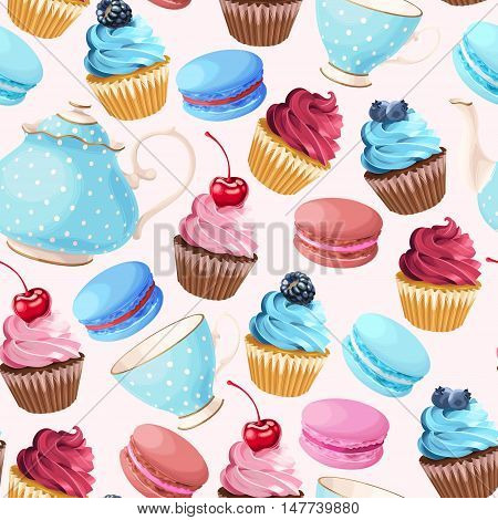 Teaparty with cupcakes and macarons vector seamless background