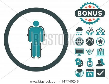 Exoskeleton icon with bonus design elements. Vector illustration style is flat iconic bicolor symbols, soft blue colors, white background.