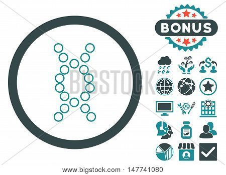 Genome icon with bonus images. Vector illustration style is flat iconic bicolor symbols soft blue colors white background.