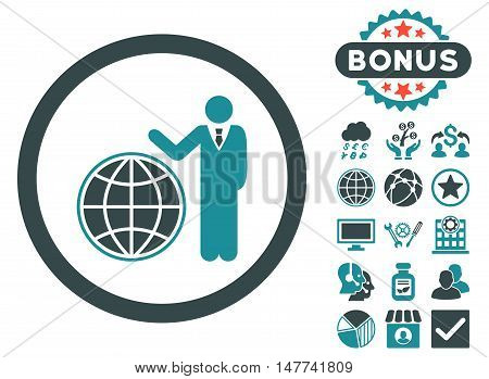 Global Manager icon with bonus pictogram. Vector illustration style is flat iconic bicolor symbols, soft blue colors, white background.