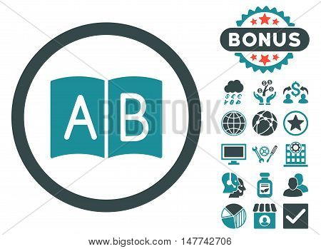 Handbook icon with bonus elements. Vector illustration style is flat iconic bicolor symbols, soft blue colors, white background.