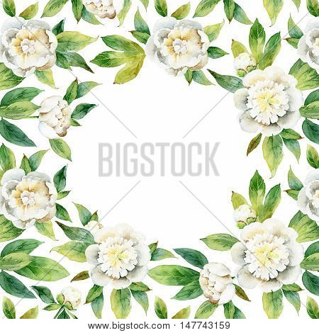 Decorative floral composition of white peonies with space for text. Watercolor illustration