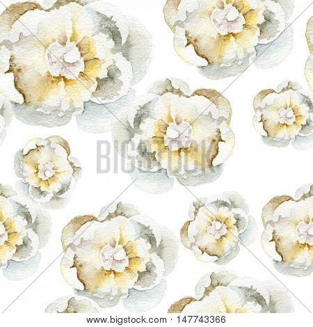 Seamless pattern with white peonies. Watercolor illustration
