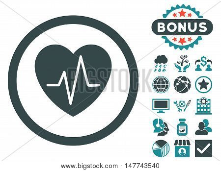 Heart Ekg icon with bonus design elements. Vector illustration style is flat iconic bicolor symbols, soft blue colors, white background.