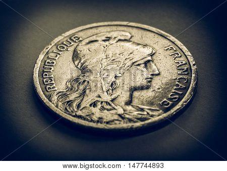 Vintage Retro Look France Coin