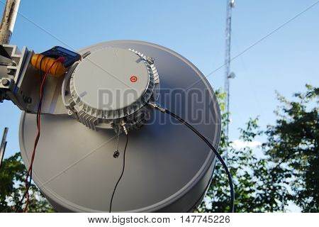 Radio relay antenna is a high-quality connection. Cellular communication Internet and other data types.