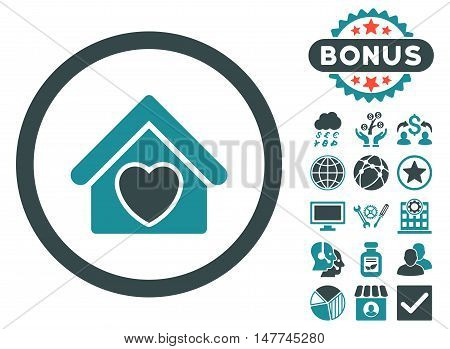 Hospice icon with bonus pictogram. Vector illustration style is flat iconic bicolor symbols, soft blue colors, white background.