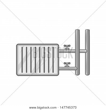 Heating battery icon in black monochrome style isolated on white background. Heat symbol vector illustration