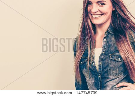 Smiling Beautiful Young Lady With Jeans.