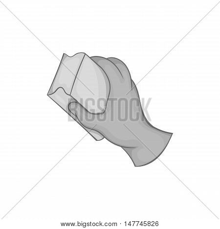 Hand with sponge for washing dishes icon in black monochrome style isolated on white background. Cleaning symbol vector illustration