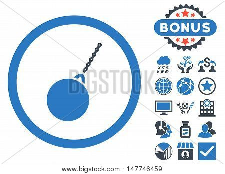 Destruction Hammer icon with bonus pictures. Vector illustration style is flat iconic bicolor symbols, smooth blue colors, white background.