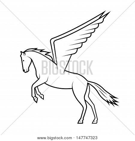 On the image it is presented mythical horse Pegasus on a white background