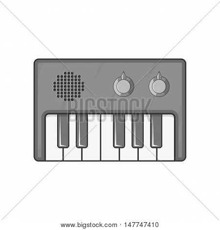 Synth icon in black monochrome style isolated on white background. Musical instrument symbol vector illustration