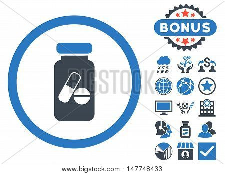 Drugs Phial icon with bonus design elements. Vector illustration style is flat iconic bicolor symbols, smooth blue colors, white background.