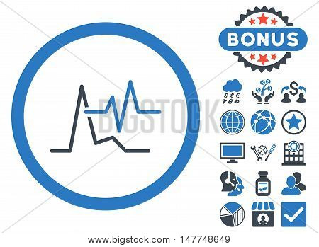 ECG icon with bonus symbols. Vector illustration style is flat iconic bicolor symbols, smooth blue colors, white background.