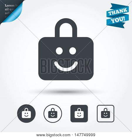Child lock icon. Locker with smile symbol. Child protection. Circle and square buttons. Flat design set. Thank you ribbon. Vector