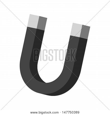 Magnet icon in black monochrome style isolated on white background. Attraction symbol vector illustration