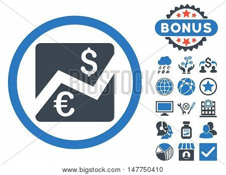 Euro Dollar Chart icon with bonus pictures. Vector illustration style is flat iconic bicolor symbols, smooth blue colors, white background.