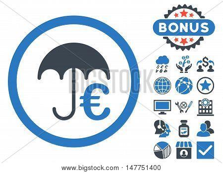 Euro Umbrella icon with bonus symbols. Vector illustration style is flat iconic bicolor symbols, smooth blue colors, white background.