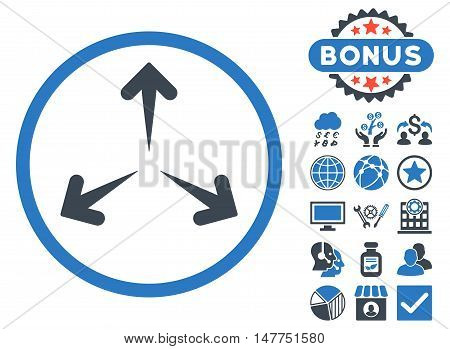 Expand Arrows icon with bonus symbols. Vector illustration style is flat iconic bicolor symbols, smooth blue colors, white background.