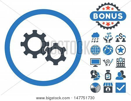 Gears icon with bonus pictures. Vector illustration style is flat iconic bicolor symbols, smooth blue colors, white background.