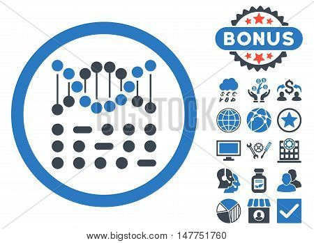 Genetic Code icon with bonus pictogram. Vector illustration style is flat iconic bicolor symbols, smooth blue colors, white background.