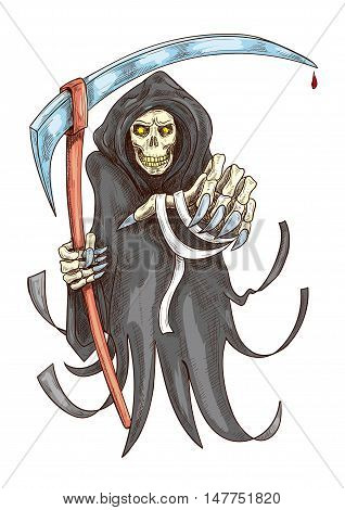 Death reaper in robe with scythe. Halloween scary horror grim with grabbing stretched hand. Color sketch icon for decoration element of greeting cards, posters, banners, books