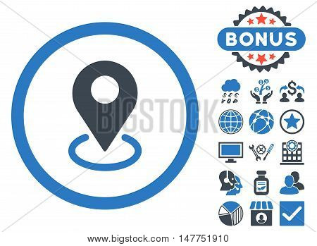 Geo Targeting icon with bonus pictogram. Vector illustration style is flat iconic bicolor symbols, smooth blue colors, white background.