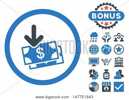 Get Banknotes icon with bonus design elements. Vector illustration style is flat iconic bicolor symbols, smooth blue colors, white background.