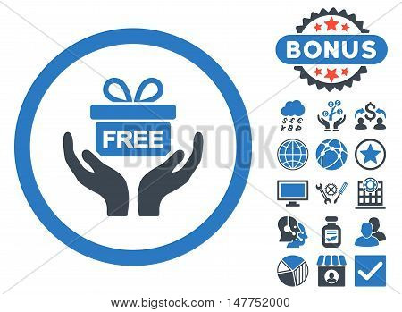 Give Present icon with bonus pictures. Vector illustration style is flat iconic bicolor symbols, smooth blue colors, white background.
