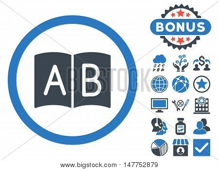Handbook icon with bonus pictures. Vector illustration style is flat iconic bicolor symbols, smooth blue colors, white background.