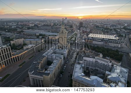 Stalin skyscraper on Komsomolskaya square during sunrise at morning in Moscow, Russia