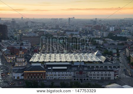 Kazansky Railway Station at morning in Moscow, Russia, panoramic view