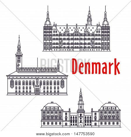 Symbolic travel landmarks of Denmark icon with Copenhagen City Hall on the City Hall Square, palatial complex Frederiksborg Castle, government building Christiansborg Palace, thin line style
