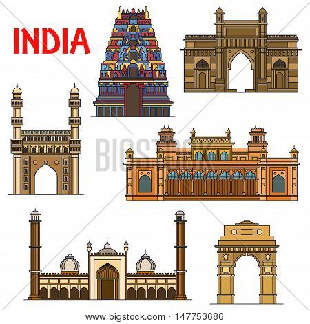 Travel landmarks of indian architecture icon with thin line India Gate, hindu Meenakshi Amman Temple, Gateway of India, islamic mosque Jama Masjid, mosque Charminar, royal palace Chowmahalla