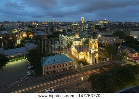 Black corner, fire brigade number 44, Church of Assumption of Virgin in Cossack Slobodka at night in Moscow, Russia