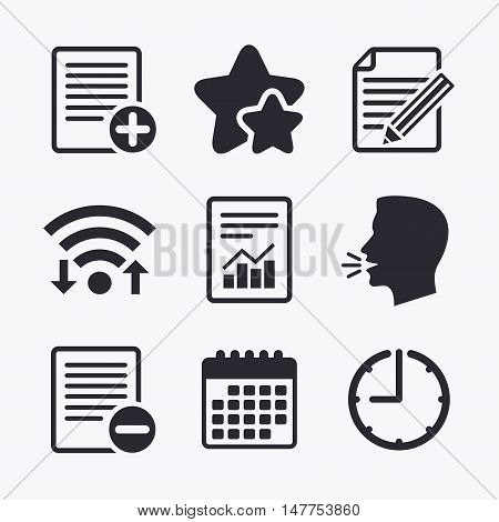 File document icons. Document with chart or graph symbol. Edit content with pencil sign. Add file. Wifi internet, favorite stars, calendar and clock. Talking head. Vector