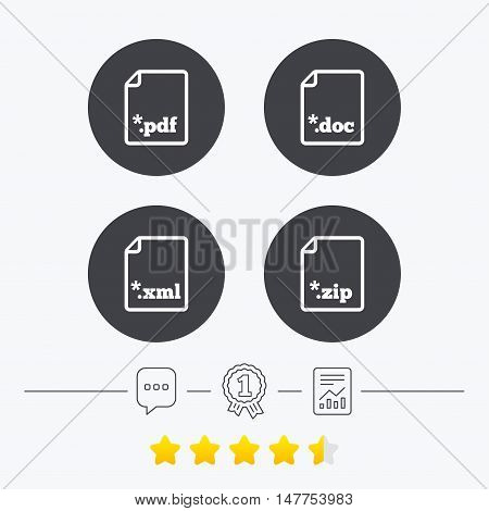 Download document icons. File extensions symbols. PDF, ZIP zipped, XML and DOC signs. Chat, award medal and report linear icons. Star vote ranking. Vector