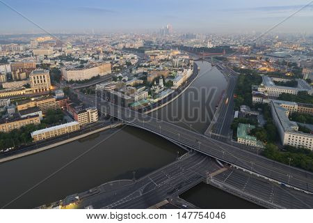 Big Stone Bridge, Moskva river center of Moscow, Russia, view from Stalin skyscraper on Kotelnicheskaya quay