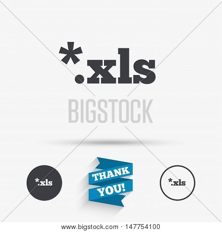 Excel file document icon. Download xls button. XLS file extension symbol. Flat icons. Buttons with icons. Thank you ribbon. Vector