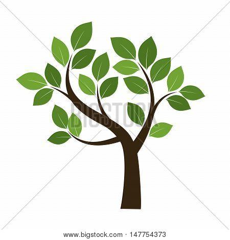 Green Tree. Vector Illustration. Nature and Garden.
