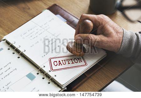 Caution Denied Pending Rejected Secret Warning Concept poster