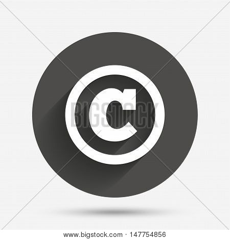 Copyright sign icon. Copyright button. Circle flat button with shadow. Vector