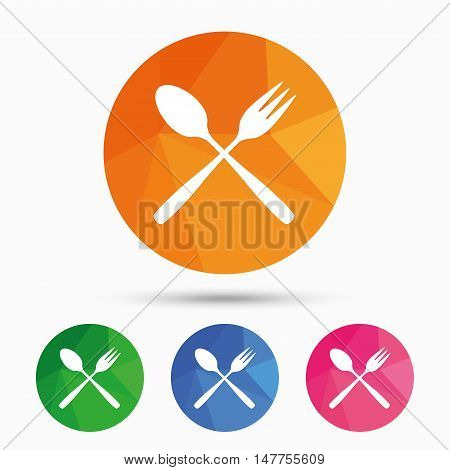 Eat sign icon. Cutlery symbol. Dessert fork and teaspoon crosswise. Triangular low poly button with flat icon. Vector